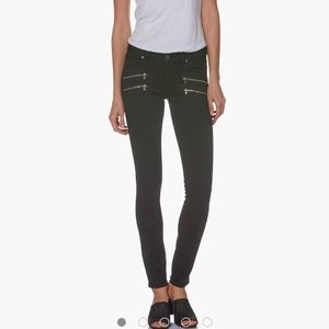Paige High Rise Edgemont Black Zippers Jeans 24